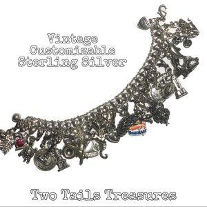🌟VINTAGE🌟 Heavy Sterling Silver Charm Bracelet